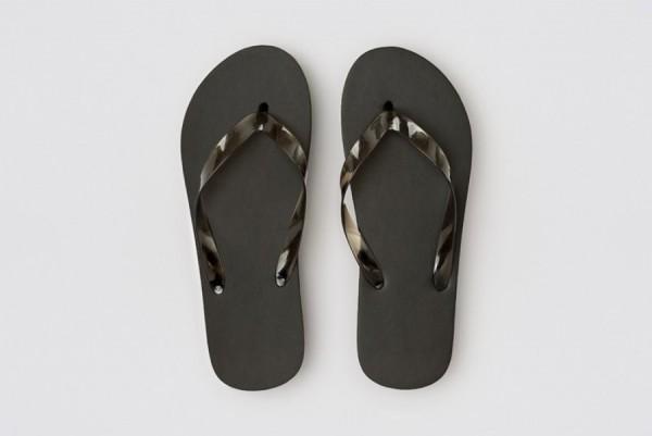 Beach Flip-Flop schwarz, 15mm PE-Sohle, Länge 26cm (39)