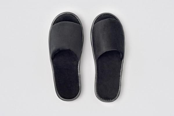 Andy Velour-Slipper offen schwarz Größe 29,5 cm