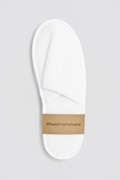 Superior Polyester-Slipper geschlossen weiß Größe 28,5cm Plastik frei verpackt