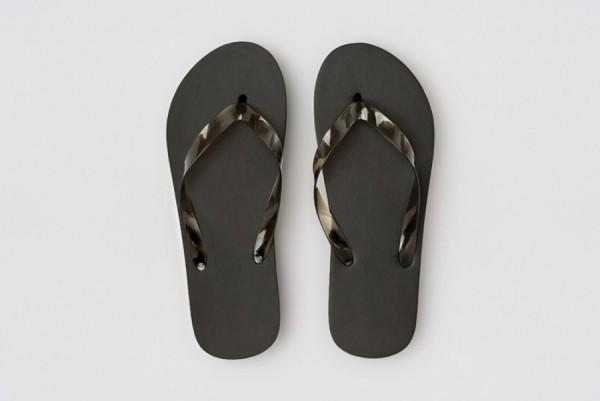 Beach Flip-Flop schwarz, 15mm PE-Sohle, Länge 30cm (45)