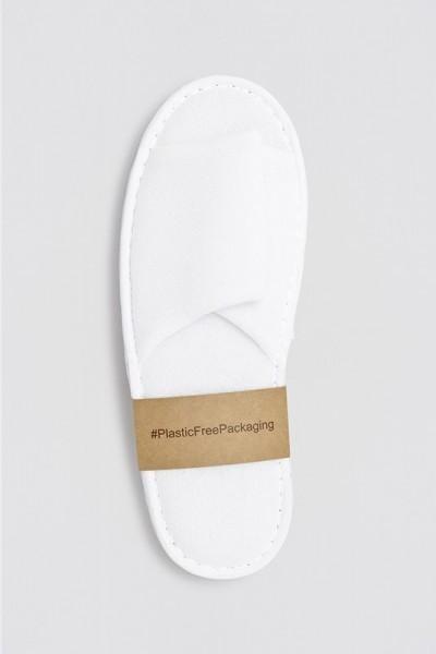Superior Polyester-Slipper offen weiß Größe 28,5cm Plastik frei verpackt