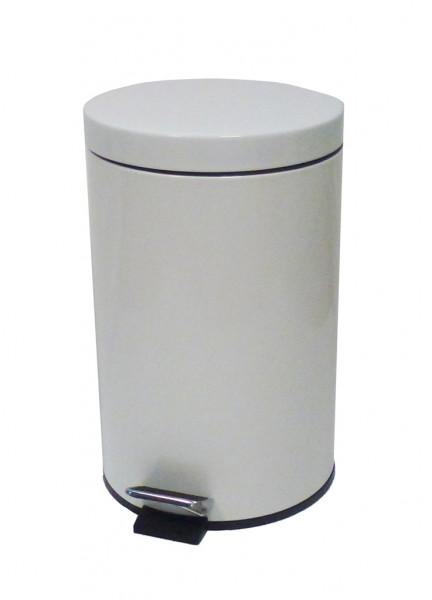 Treteimer Metall Weiß 12 L